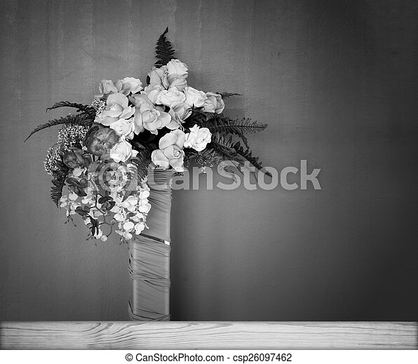 White Plastic Flowers On A Black Background