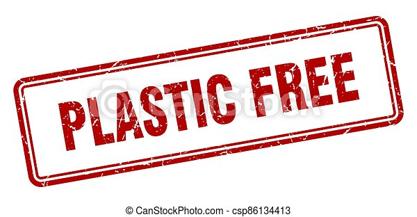 plastic free stamp. square grunge sign on white background - csp86134413