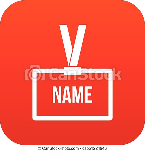 plastic name badge with neck strap icon digital red for any design
