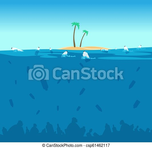 Plastic pollution of ocean. Bottles, plastic bags and debris on the seabed. Water environment protection eco vector concept - csp61462117