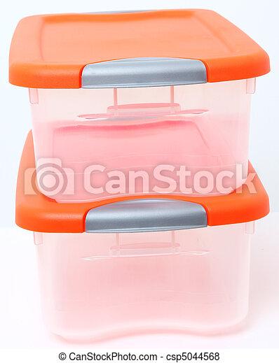 Plastic Storage Container Bin - csp5044568  sc 1 st  Can Stock Photo & Plastic storage container bin. Orange and clear plastic storage ...