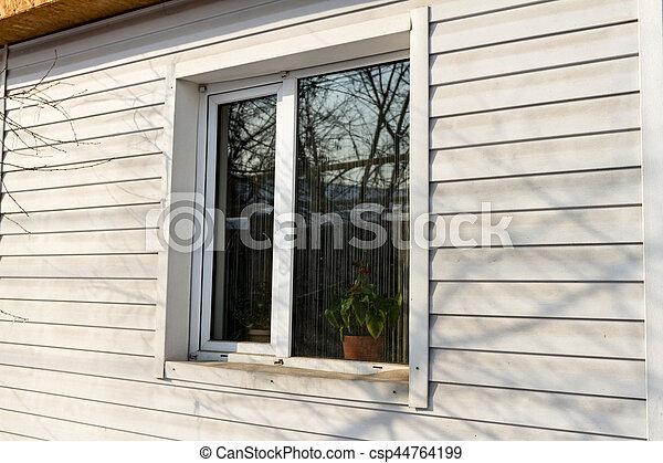 plastic window on the wall - csp44764199