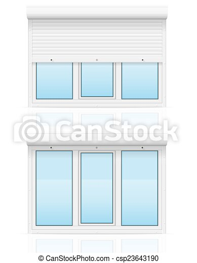 plastic window with rolling shutters vector illustration - csp23643190