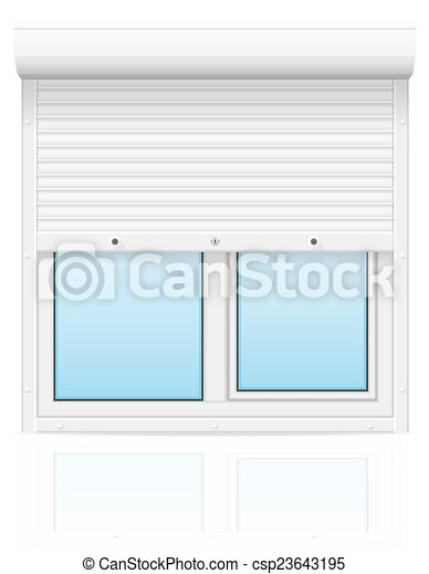 plastic window with rolling shutters vector illustration - csp23643195