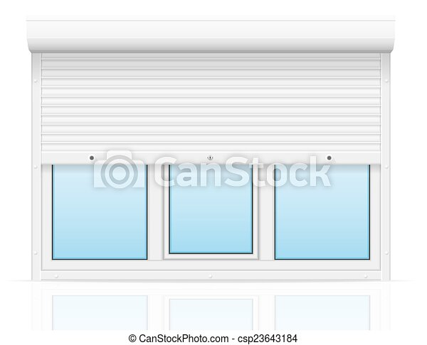 plastic window with rolling shutters vector illustration - csp23643184