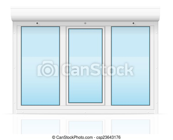 plastic window with rolling shutters vector illustration - csp23643176