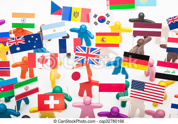 Plasticine humans with the various flags - csp32780166