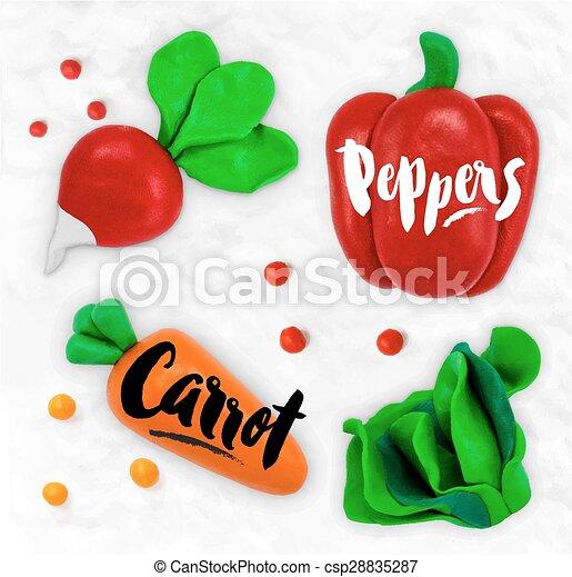 Plasticine vegetables carrot - csp28835287