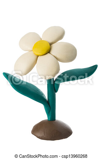 Plasticine white flower with leaves growing on the ground - csp13960268