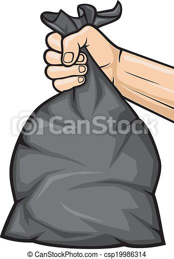 plastique, ba, main, noir, tenue, déchets ménagers - csp19986314