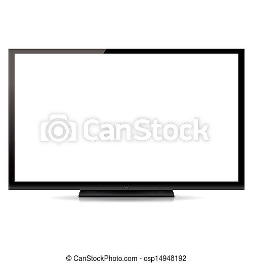 plat, écran tv, moderne, isolé, fond, vide, blanc - csp14948192