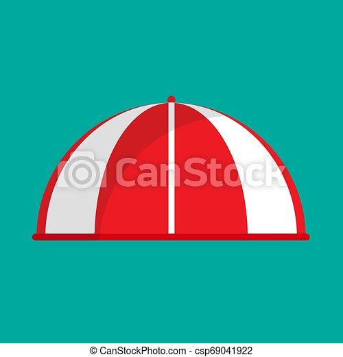 plat, épicerie, marquise, vendange, boutique, parasol, toit, devant, vecteur, raie, façade, icon., parasol, canopy., marché, rouges - csp69041922