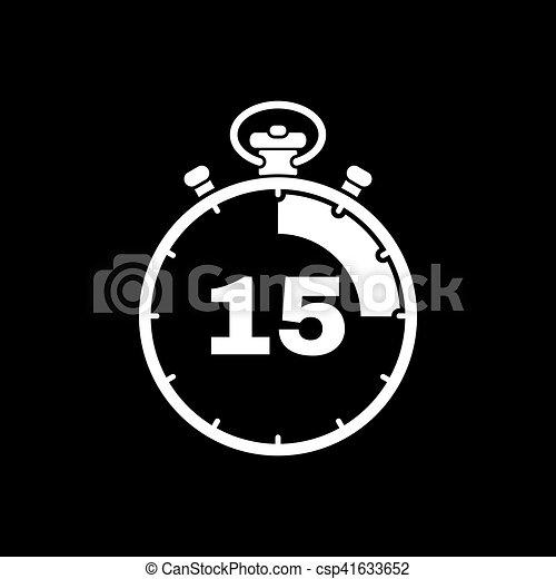 Plat 15 Minutes Horloge Secondes Signe Minuteur Web Compte Rebours Symbole Montre Chronometre Design Icon