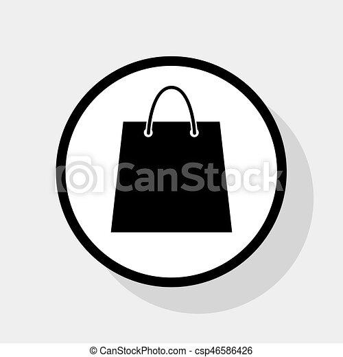 plat, achats, illustration., sac, cercle, arrière plan., gris, noir, vector., ombre, blanc, icône