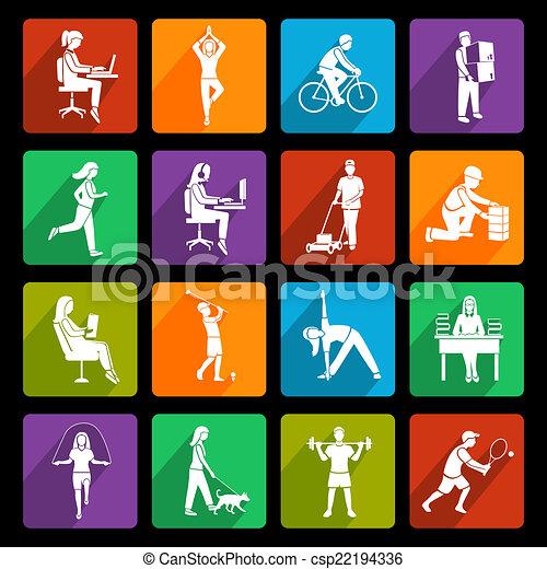 plat, activiteit, lichamelijk, iconen - csp22194336