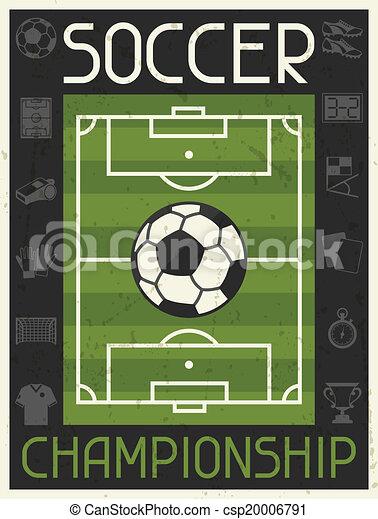 plat, affiche, championship., conception, retro, football, style. - csp20006791