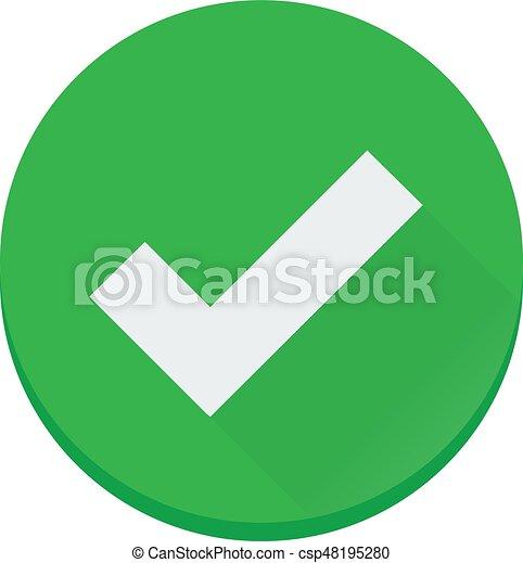 plat, afwerking, gecontroleerde, vector, groene, correct, pictogram - csp48195280