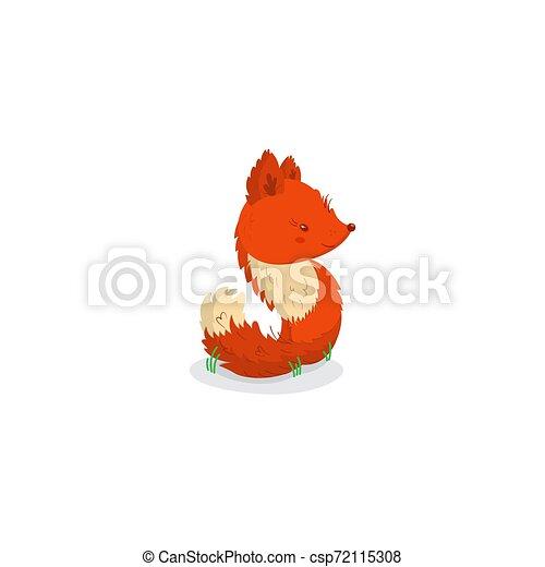 plat, animaux, mignon, renard, fond, orange, blanc - csp72115308