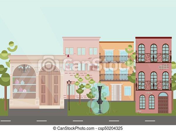 plat, bâtiments, architecture., moderne, style, maisons, vecteur, village,  illustrations
