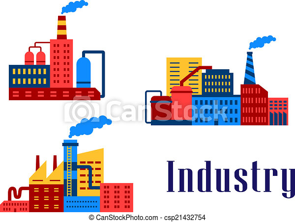 plat, bâtiments, industriel, usine - csp21432754