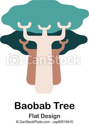 plat, baobab arbre, icône - csp60019415