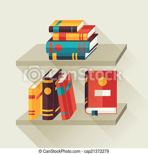 plat, bookshelves, boekjes , ontwerp, style., kaart - csp21372279