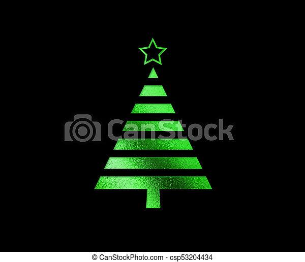 plat, boompje, vrijstaand, groene, schitteren, kerstmis, pictogram - csp53204434