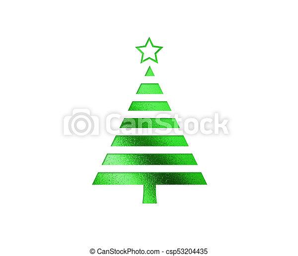 plat, boompje, vrijstaand, groene, kerstmis, pictogram - csp53204435