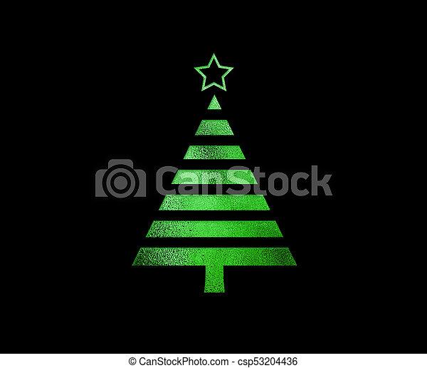 plat, boompje, vrijstaand, groene, schitteren, kerstmis, pictogram - csp53204436