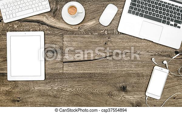 Plat bureau tablette café ordinateur portable téléphone poser