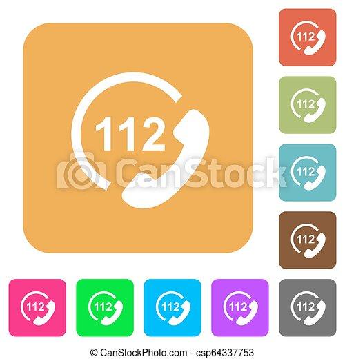 plat, carrée, arrondi, urgence, icônes, appeler, 112 - csp64337753