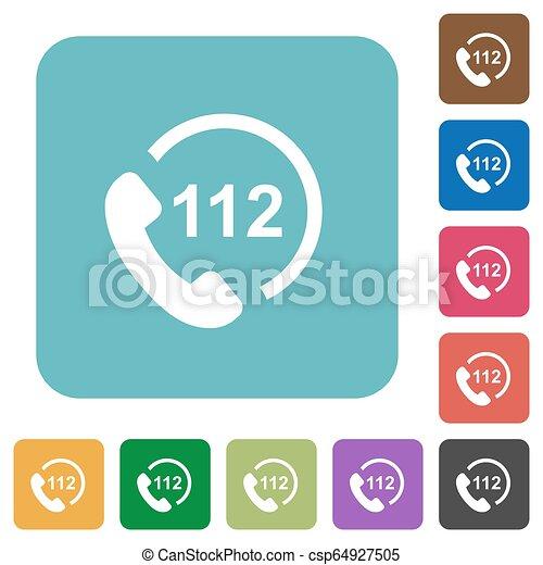 plat, carrée, arrondi, urgence, icônes, appeler, 112 - csp64927505