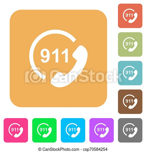 plat, carrée, arrondi, urgence, icônes, appeler 911 - csp70584254