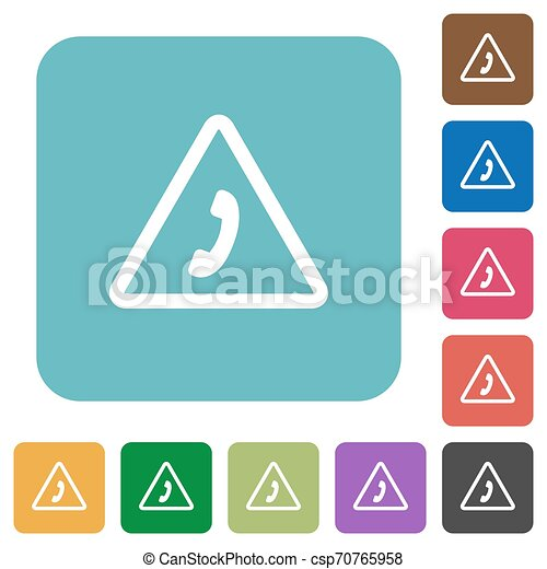 plat, carrée, arrondi, urgence, icônes, appeler - csp70765958