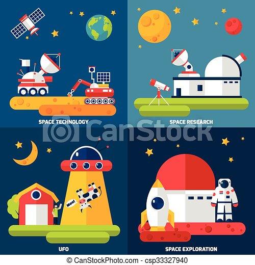 plat, carrée, espace, icônes, exploration, 4 - csp33327940