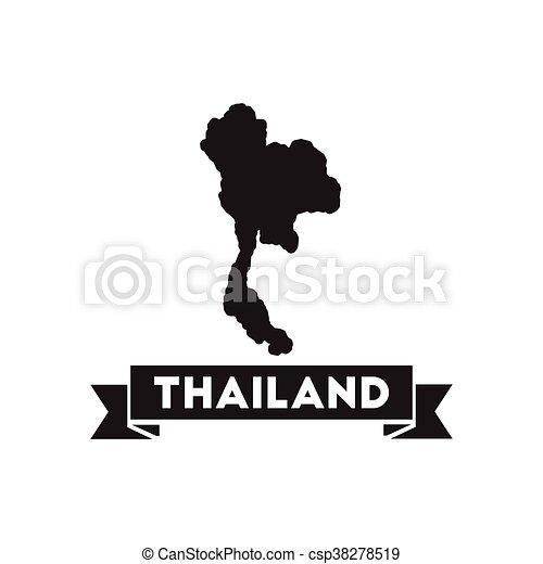 Carte Thailande Noir Et Blanc.Plat Carte Noir Thailande Blanc Icone