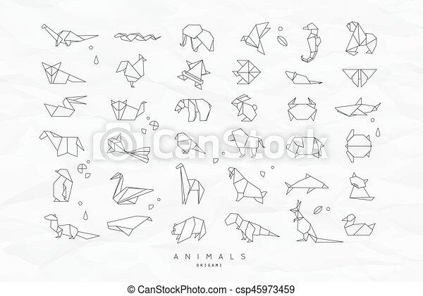 Hervorragend Clipart Vecteur de plat, chiffonné, ensemble, animaux, origami  TX41