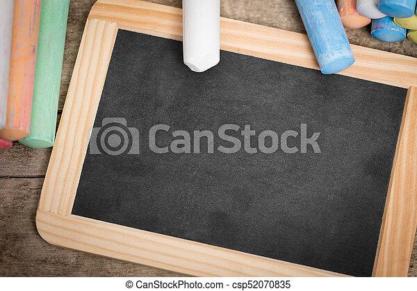 plat, coloré, bois, ardoise, craie, poser, table