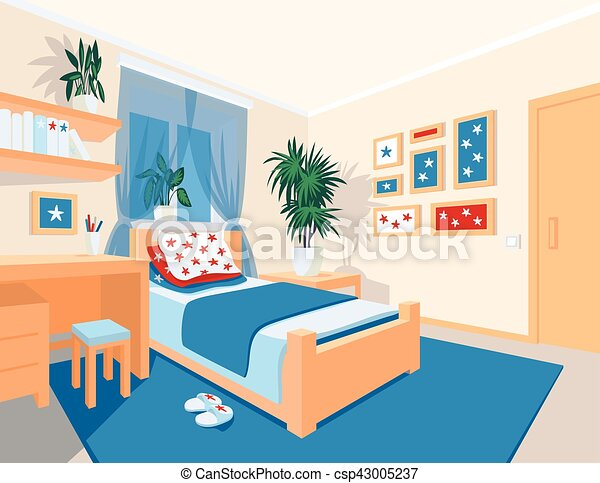 plat color style chambre coucher int rieur dessin vecteurs search clip art. Black Bedroom Furniture Sets. Home Design Ideas