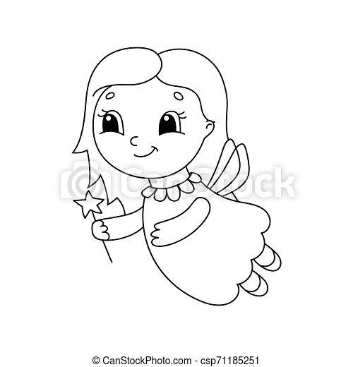 plat, coloration, mignon, simple, character., isolé, illustration, dessin animé, gai, livre, vecteur, style., kids. - csp71185251