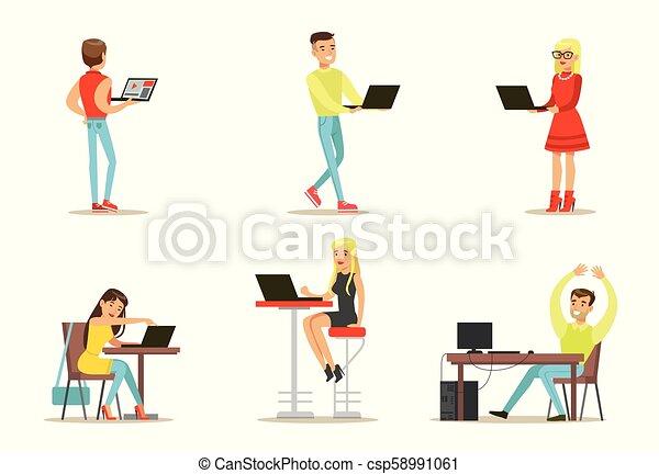 plat, computers., ensemble, fonctionnement, bavarder, gens, users., filles, jeune, vecteur, amis, internet, jeux, types, jouer - csp58991061
