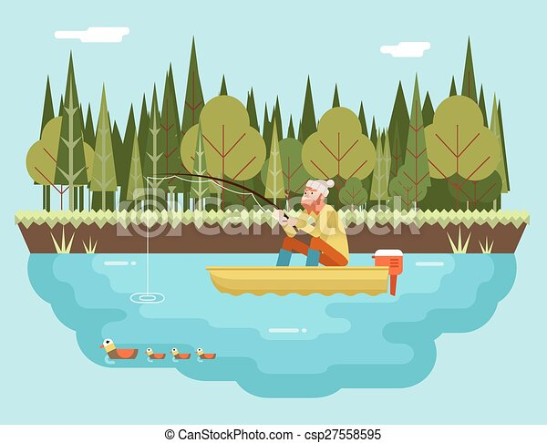 plat, concept, bos, achtergrond, staaf, karakter, illustratie, scheepje, vector, visser, visserij, mal, ontwerp, vogels, landscape, pictogram - csp27558595