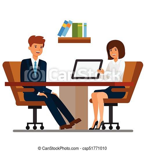 plat, concept, bureau, femme affaires, discussion, isolé, illustration, vecteur, fond, homme affaires, blanc, dessin animé - csp51771010