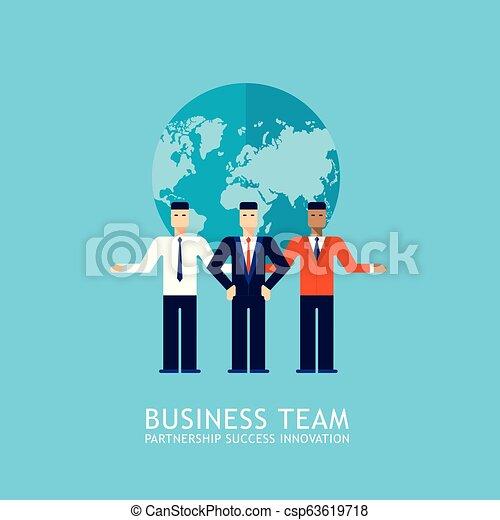 plat, concept, business, réussi, collaboration, association, homme affaires, conception, collaboration équipe - csp63619718