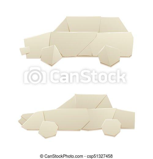 Plat Concept Feuille Illustration Voiture Voyage Papier Vecteur Logistique Liberté Origami Transport Original Transport