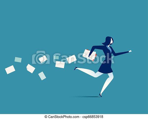 plat, concept, illustration., business, hâtif, femme affaires, vecteur, running. - csp66853918