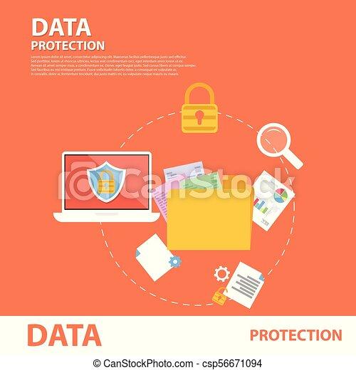 plat, concept, protection données, bannière, icône - csp56671094