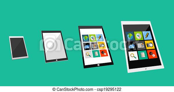 plat, concept, tablette, 3d - csp19295122