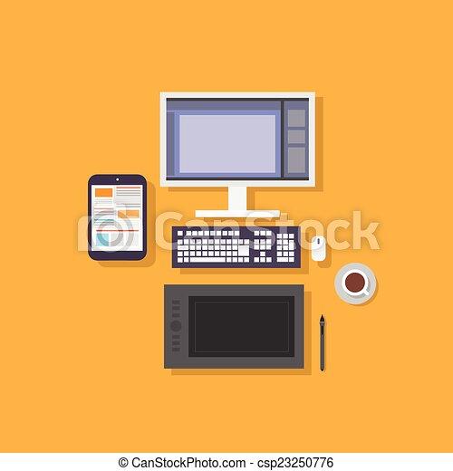 plat, concepteur, tablette, informatique, conception, lieu travail, icône - csp23250776