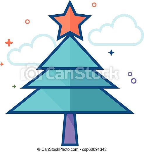 plat, couleur, arbre, -, noël, icône - csp60891343